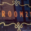 <b>ROOM 21</b> - Logo for restaurant - Window Treatment
